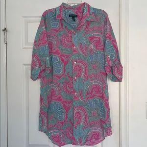 NWOT Ralph Lauren Paisley Shirt dress Sz L